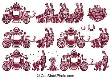 vettore, carrello, cinderella
