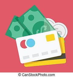 vettore, carte credito, e, soldi, icona