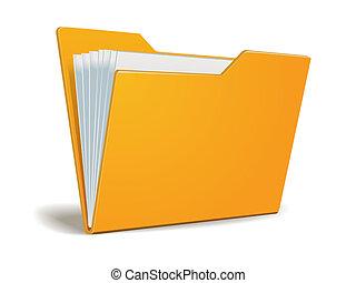 vettore, cartella, con, documenti