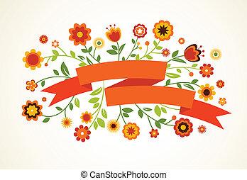 vettore, cartolina auguri, con, fiori, e, nastro