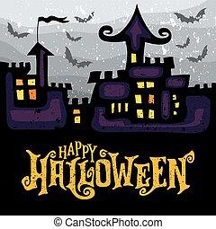vettore, cartolina auguri, con, sinistro, frequentato, halloween, castle.