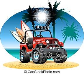 vettore, cartone animato, 4x4, automobile, su, spiaggia