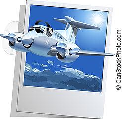 vettore, cartone animato, aeroplano