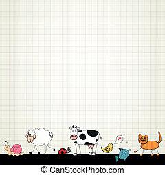 vettore, cartone animato, animali