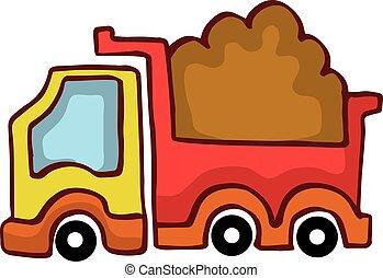 vettore, cartone animato, autocarro a cassone ribaltabile, disegno, per, bambini