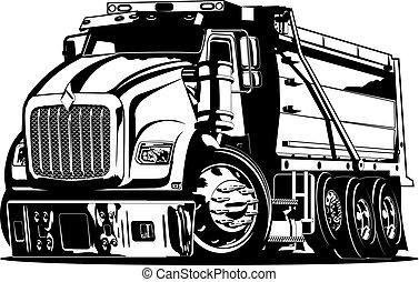 vettore, cartone animato, autocarro a cassone ribaltabile