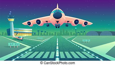 Paesaggio pista aereo di linea aeroporto vettore cartone