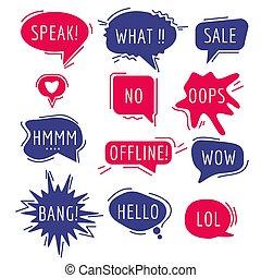 vettore, cartone animato, bolle, pensare, frase, suono, parlante, comico, umore, comunicazione, text., parole, discorso, etichette, adesivo, espressione