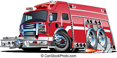 vettore, cartone animato, camion fuoco