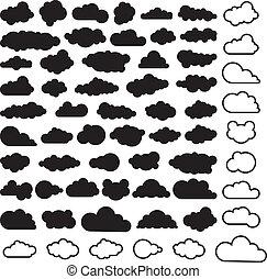 vettore, cartone animato, collezione, di, cielo, nubi