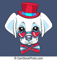 vettore, cartone animato, cucciolo, labrador