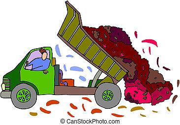 vettore, cartone animato, discarica, truck.