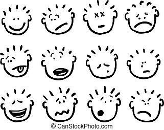vettore, cartone animato, emozioni, facce