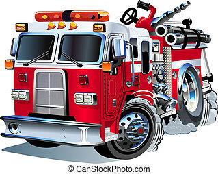 vettore, cartone animato, firetruck