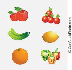 vettore, cartone animato, frutte