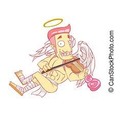 vettore, cartone animato, giorno, valentina, cupido, ...