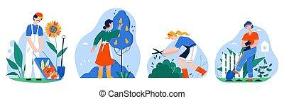 vettore, cartone animato, hobby, appartamento, raccolta, illustrazione, giardinaggio, lavoro, uomo, bianco, set, giardino, persone, attività, o, isolato, contadino, donna, carattere, icona