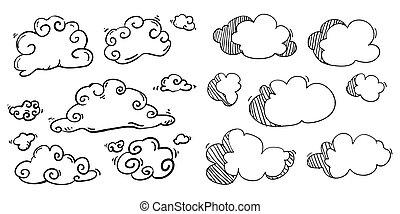 vettore, cartone animato, illustrazione, nuvola, scarabocchiare, handdrawn, stile
