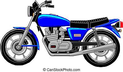 vettore, cartone animato, motocicletta