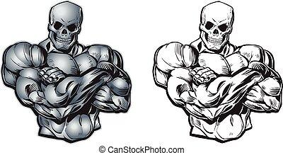 vettore, cartone animato, muscolare, torso, con, cranio,...