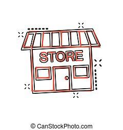 vettore, cartone animato, negozio, icona casa, in, comico, style., segno negozio, illustrazione, pictogram., negozio, mercato, affari, schizzo, effetto, concept.