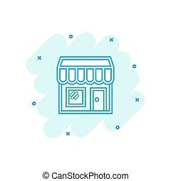 vettore, cartone animato, negozio, mercato, icona, in, comico, style., negozio, costruzione, segno, illustrazione, pictogram., centro commerciale, affari, schizzo, effetto, concept.