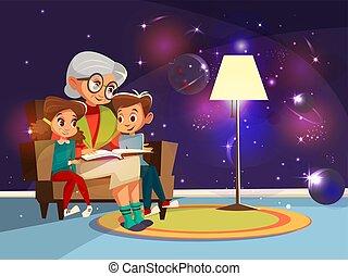 vettore, cartone animato, nonna, lettura, a, ragazza, ragazzo