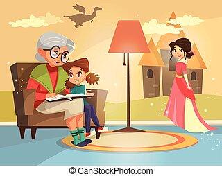 vettore, cartone animato, nonna, lettura, a, ragazza