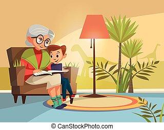 vettore, cartone animato, nonna, lettura, a, ragazzo