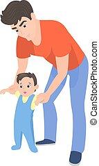 vettore, cartone animato, padre, insegnamento, suo, figlio, camminare