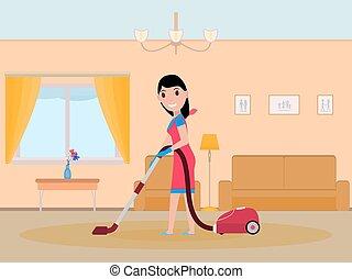 vettore, cartone animato, ragazza, domestica, pulizia,...