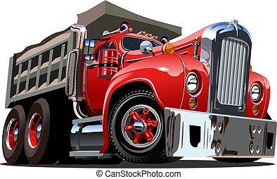 vettore, cartone animato, retro, autocarro a cassone ribaltabile