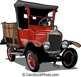 vettore, cartone animato, retro, camion