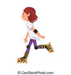 vettore, cartone animato, rollerblading, pattinaggio, rullo...