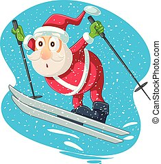 vettore, cartone animato, santa, sciare