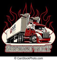 vettore, cartone animato, semi camion, sagoma