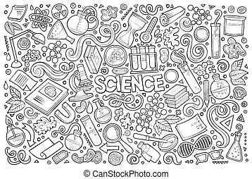 vettore, cartone animato, set, di, scienza, tema, oggetti, e, simboli