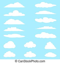 vettore, cartone animato, set, illustration., clouds.