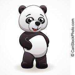 vettore, cartone animato, standing, panda