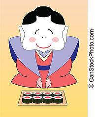 vettore, cartone animato, sushi, giapponese, geisha
