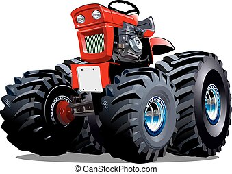 vettore, cartone animato, trattore