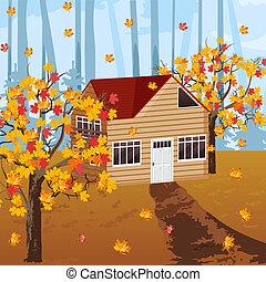 vettore, casa, autunno, legno, fondo, cadere, illustrazioni