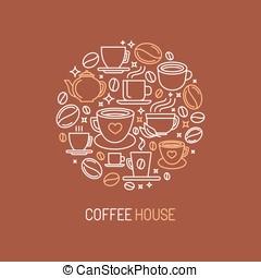 vettore, casa, caffè, concetto, logotipo