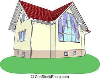 vettore, casa, con, vetro macchiato, su, il, prato
