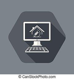 vettore, casa, -, progetto, domanda, computer, disegno,...