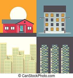 vettore, casa, set, illustrazione, icona