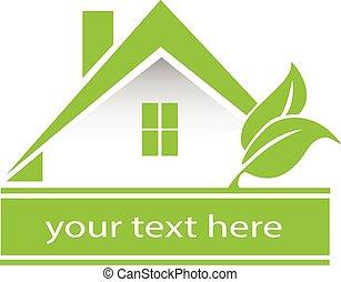 vettore, casa verde, mette foglie, logotipo
