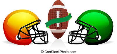 vettore, casco, americano, palla, football