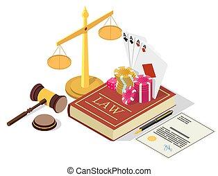 vettore, casinò, legalization, isometrico, concetto, ...