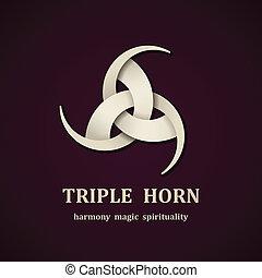 vettore, celtico, triplo, corno, simbolo, disegno, sagoma